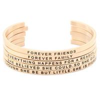 Wholesale Custom Gold Bracelets - Custom Engraved Positive Inspirational Quote Cuff Mantra Bracelet Bangles for women Gift (COLOR:ROSE GOLD)