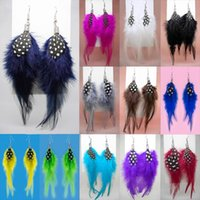 Boucles d'oreilles en plumes 12 couleurs en gros lots Cute Charm Women / Girl Light Dangle Eardrop Hot (Navy White Red Brown Grey Green Black Blue) (JF220)