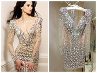 Wholesale Short Occasion Dresses Women - Bling Rhinestone Cocktail Dresses Party Gowns Sexy Deep V Neck Long Sleeve Short Prom Dress Special Occasion Dresses for Women Real Image