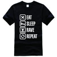 Wholesale Funny Rave Shirts - Eat Sleep Rave Repeat Tee Shirt Unisex fashion women men short sleeve funny shirt 6 size