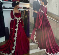 Wholesale Velvet Evening Gowns Crystals - New Arabic Dubai Long Sleeves Kaftan Evening Dresses 2017 Hot Burgundy Velvet With Appliques Long Vintage Muslim Party Gowns