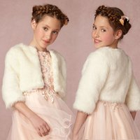 Wholesale Cheap Winter Jackets For Girls - Cheap Sweet White Ivory Fur Shawls Wraps 3 4 Length Sleeves Cold Protection Formal Wrap Custom Made For Girl Capes