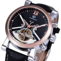 Wholesale Skeleton Watch Boxes - FORSINING Luxury Business Tourbillon Mechanical Watch Leather Strap Automatic Gold Skeleton Case Sub-dial reloj hombre + BOX