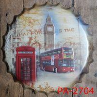 Wholesale Vintage Bus Sign - Wholesale- London Double BUS Road Bottle Cap Decorative Metal Plate Plaque Vintage Pub Wall Art Metal Sign Vintage Home Decor 35 CM