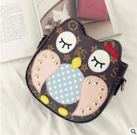 Wholesale Owl Patchwork Bag - Children bag cute BOWS owl girls messenger bags patchwork campus kids PU leather one shoulder bags fashion women Mini purse bags R0162