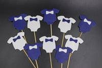 Wholesale Cupcake Clothing Wholesale - Wholesale-Blue Baby Clothes Cupcake toppers decoration for Kids Birhday party favors Baby Shower Decoration Supplies