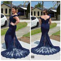 Wholesale Side Shoulder Casual Dresses - Modest 2018 Navy Blue Lace Evening Dresses Off The Shoulder Mermaid Party Dresses Plus Size Formal Maxi Sizes Casual Mother Dress