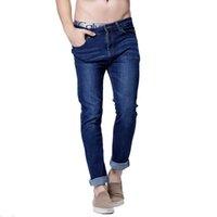 Wholesale Jean S Elasticity - Men Casual Jeans 2017 Full Length Slim Straight High Elasticity Feet Jeans Waist Long stretch jean Size: 28-40 S6WJ025