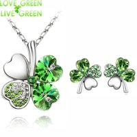 Wholesale Clover Earrings Austrian Crystal Necklace - 2017 Austrian Crystal rhinestones Clover 4 four Leaf White Gold Plate green crystsal Necklace Earrings Jewelry Sets 9554