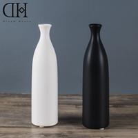 Wholesale Ceramic Bottle Vase - Genuine Dream House DH VS128553 white ceramic flower case black porcelain flower bottle home decoration accessories wedding vase