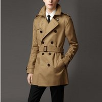 Wholesale Europe Trench - Wholesale- Customize Top Quality British Slim double breasted mens long trench coat Europe trenchcoat jacket male coat trench free shipping