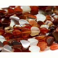 Vente en gros- Vente en gros Acier naturel naturel Carnelian Red Agate Flat Heart Shape Loose Small Beads 4-10mm Fit Jewelry Bricolage Collier 15
