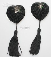 Wholesale New Nipple Tassels - Sexy Sequin Nipple Covers with Tassel Heart Shaped Breast Nipple Covers New Fashion Sexy Pasties Black 1 Pair