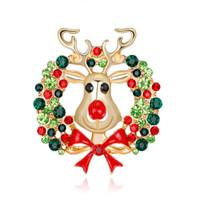 Wholesale Reindeer Brooch - New Fashion High Quality Cartoon Reindeer Brooch Rhinestone Jewellery Fashion Brooch Fashion Accessories Girl Gift