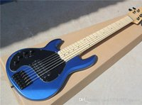 Wholesale Black Pickguard Bass - 6-string Left-hand Electric Bass with Navy Blue Body and Black Pickguard,Maple Fretboard,can be Customized