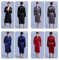 rote seidenroben männer großhandel-30pcs 4 Farben Mode Männer Solide Seide Kimono Robe für Brautjungfern Hochzeit Nacht Kleid Pyjamas M026