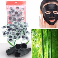 Wholesale natural pack mask - 40Pcs Pack Compressed Mask Paper Facial Natural Bamboo Charcoal Deep Clean Mask Paper Fiber Face Care DIY Compressed Mask Paper Sheet New