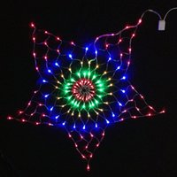 Wholesale Rgb Led Net Lights - 7W 130Pcs RGB LED Bulb Star Net Christmas Light Decoration AC220V Input 1.5 Meter Diameter Size Holiday Light , RGBY Color
