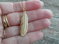 Wholesale Necklace Feathers Gold Long - Ms Bohemia style restoring ancient ways contracted feather necklace Gold Long Pendant Necklace65cm 5cm