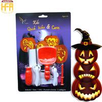 Wholesale Metal Kit Toys - Pumpkin Carving Kit Kids Halloween Sticker Pumpkin Lantern Carved Toy DIY Kids Lantern Carving Knife Set 5Pcs Set Wholesale