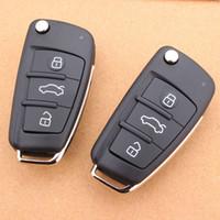 substituição shell chave do carro venda por atacado-Recentes 3 Botões Dobrável Carro Tampa Remota Clamp Chave Caso Shell para Audi A6L A4L Q7 Substituição Folding Car Key Shell