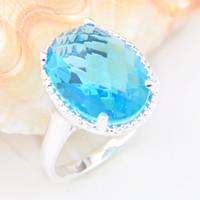 Wholesale Topaz Gemstone Men Rings - Luckyshine Hot Selling Women&Men Fashion Jewelry Round Classy Sterling 925 Silver Blue Topaz Gemstone Ring