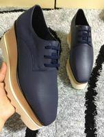 oxfords de plataforma preta venda por atacado-Nova frete grátis Stella Mccartney Plataforma Oxfords Sapatos Femininos Preto Couro Genuíno com Estrelas de Prata Sola Preta
