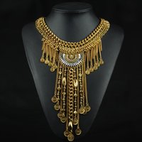 Femmes Vintage Design Argent / Or Couleur Multilayer Long Tassel Statement Collier Bohemia Enthic Turkish Jewelry Wholesale