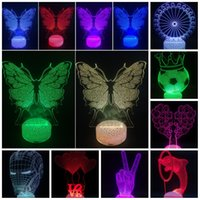3D luzes LED Night Cor Mudando Iluminação Toque Lâmpadas Love Heart Tree Borboleta Dom Dolphin para Quarto Luz Cube Nightlight Home Decor