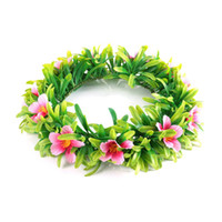 Wholesale Solid Hoop - Girls Moana Garland Kids Cartoon Head Accessories Children Adult Floral flower Hoop beach Headwear Moana Party Supplies fast shipping