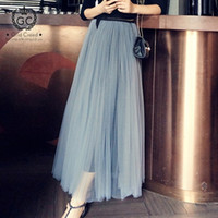 Strati grigi gonna lunga in tulle elegante maglia casual alta vita elastica con fodera lunghezza lunghezza party cocktail beach vacanze maxi gonne