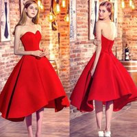 Wholesale Perfect Blue Homecoming Dress - Perfect High Low Homecoming Dresses Satin Sweetheart 2018 Satin Club Wear Sleeveles Party Prom Dress Graduation Bridesmaid Dresses Evening