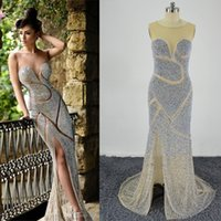 Wholesale White Coral Jewellery - 2016 Rami Salamoun Beaded Evening Dresses Luxury Jewellery Rhinestones Sheer Jewel Corset Mermaid Floor Length Real Images Celebrity Dresses