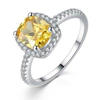 Wholesale chunky rings women - Princess Style 18K White Gold Plated Chunky Yellow Blue Zircon CZ Clear Crystals Paved Party Wedding Ring for Women Girls 6-9# Size