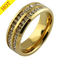 Wholesale famous engagement ring - Famous Brand Luxury 18K gold Plated 2 row CZ diamond rings Top Classic Design Wedding Band lovers Ring for Women and Men wholesale