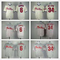 Wholesale Cream Philadelphia - Stitched Baseball Jerseys Philadelphia Phillies 6 Ryan Howard 34 Roy Halladay White Gray Cream Cheap Home Road Alternate Jersey Mix Order