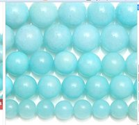 """Wholesale Jade Beads Mm - Wholesale 2pc set package Natural Stone Aqua Amazonite Round Loose Beads 15"""" Strand 6 8 10 MM Pick Size For Jewelry Making gems loose"""