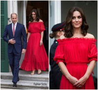 Wholesale Evening Dresses Kate Middleton - Catherine Duchess Kate Middleton Inspired Red Carpet Dresses 2017 The Queen's Birthday Party Off-the-shoulder Red Maxi Formal Evening Dress