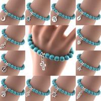 Wholesale Turquoise Star Bracelet - Bohemian Vintage Turquoises Bracelets for Women Men Cross Tree Star Moon Heart Hand Pendant Charm Bracelet Bangle Fashion Jewelry D84S
