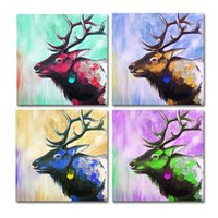 Wholesale Free Canvas Textures - 4 Panels HD Colorful Deer Acrylic Painting Prints Animal Texture Painting Giclee Art Print Unframed Living Room Decor Free Shipping