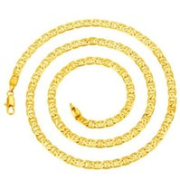 Wholesale Mariner Gold Chain - Men 18KGP Stamped Gold Plated Italy Flat Mariner Anker Chain Necklace 5mm*60cm