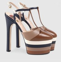 Wholesale Chunky Heel Platform Pump Design - 2018 Brand Design Gladiator Sandals Woman Pointed Toe Rivet Platform Super High Heel Shoes Women Runway Party Shoes