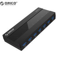hub 12v al por mayor-dhgate 7 puertos USB 3.0 HUB 5 Gbps velocidad rápida con 12V adaptador de corriente Superior diseño USB 3.0 HUB- negro (H727RK-U3)