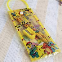 Wholesale Eraser Pen - poke go Pikachu PVC Transparent pencil case bags pocket monster pen bag pocket stationery storage bags pencil rular eraser pencil sharpener