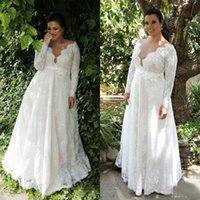 Wholesale long sleeves wedding dress china - Plus Size Wedding Dresses 2017 Sexy Sheer V Neck Long Sleeves Lace Floor Length Garden Bridal Gowns Custom Made China EN8101