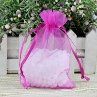 Wholesale Organza Bags 5x7cm - Wholesale-2016 New 100pcs lot 5x7cm Hot Pink Organza Bag Wedding Jewelry Packaging Pouch Mini Organza Gift Bags With Drawstring