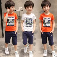 Wholesale Summer Outfits Sport Set - 2018 New Children's Clothing Boys and girls Summer T-shirt Shorts Sports Suit Set Children Boy Baby Kids Fashionable School Uniform Outfit