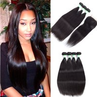 Wholesale bella hair brazilian body wave - Human Hair Weaves with Closure Indian Peruvian Malaysian Brazilian Hair Unprocessed Human Hair Weave Black Silky Straight Bella Bundles