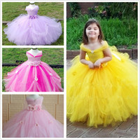 Wholesale Yellow Performance Tutu - Princess tutu dress in 4 colors style colors Pageant dress celebration for girls in performance party show free shipping