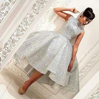 Wholesale High Neck Sparkle Formal Dress - Shiny Fashion Hi-Lo Prom Dresses Fashion High Neck Sleeveless Sparkle Sequins Formal Party Dresses 2017 Glamorous Lovely Short Evening Dress